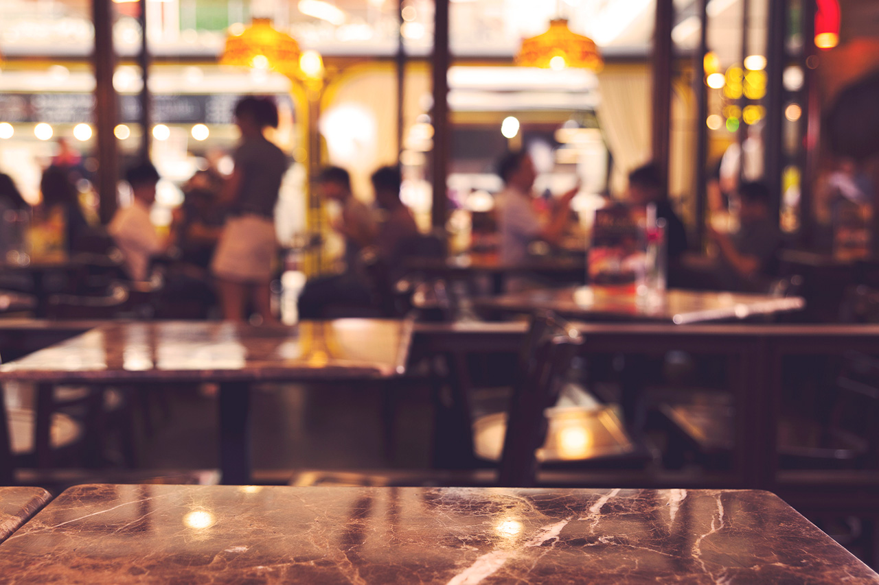 blurred background of restaurant interior